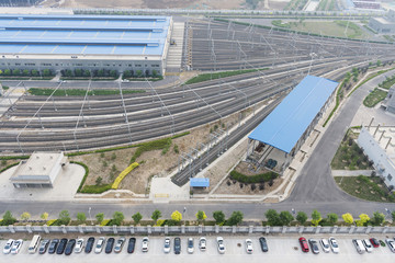 Railway from train station and parking lot in Bejing China