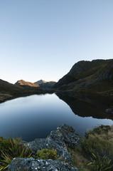 Lonely Lake and mountains, Kahurangi National Park, New Zealand.