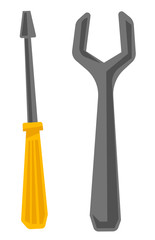Wrench and screwdriver vector cartoon illustration isolated on white background.
