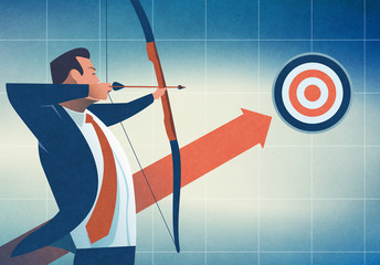 Aiming at a target. Concept illustration
