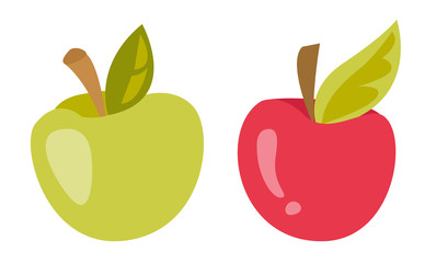 Fresh green and red apple vector cartoon illustration isolated on white background.