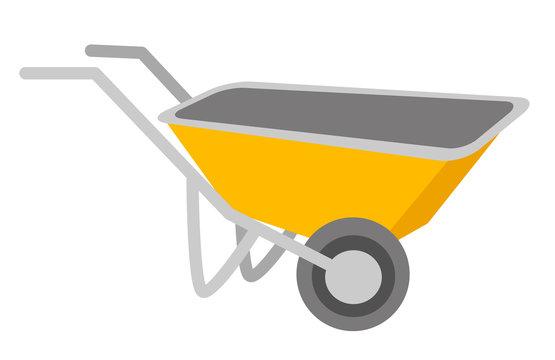 Yellow wheelbarrow vector cartoon illustration isolated on white background.