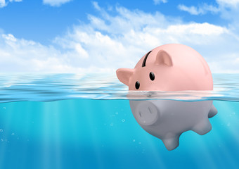 Piggy bank drowning, savings loss concept