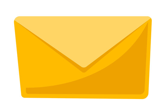 Closed yellow envelope vector cartoon illustration isolated on white background