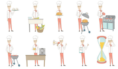 Young caucasian chef set. Chef holding tray, plate with chicken, cooking steak on grill, making coffee with a coffee-machine. Set of vector sketch cartoon illustrations isolated on white background.