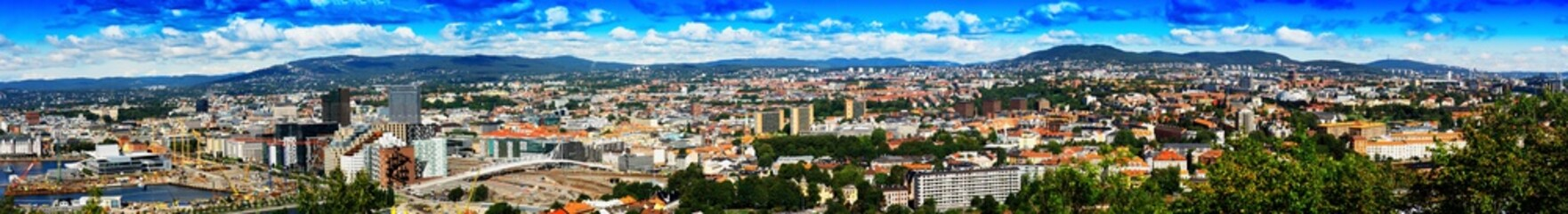 Mega wide panorama of  Oslo city background