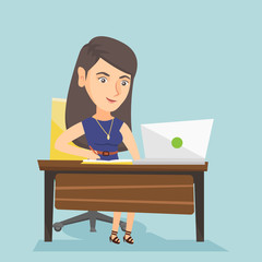 Caucasian student sitting at the table with a laptop and writing notes in notebook. Student using a laptop for education. Educational technology concept. Vector cartoon illustration. Square layout.