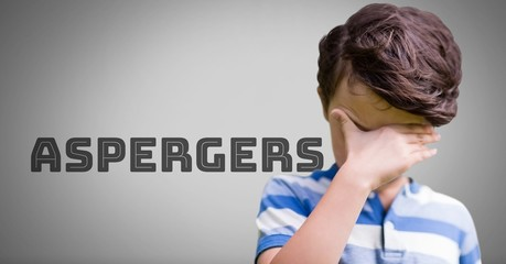 Boy against grey background with Asperger's text