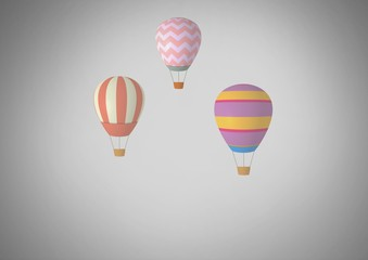 Grey background with hot air balloons