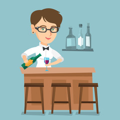 Young caucasian bartender standing at the bar counter and pouring wine in a glass. Cheerful female bartender holding a bottle of wine in hands. Vector cartoon illustration. Square layout.