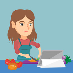 Young caucasian woman cutting vegetables for salad. Woman following a vegetable salad recipe on a digital tablet. Woman cooking healthy vegetable salad. Vector cartoon illustration. Square layout.