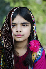 A Girl in Traditional Balochi Dress