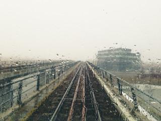 Train line in rain