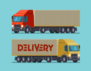 Truck, lorry symbol or icon. Delivery, shipping, shipment concept. Cartoon vector illustration