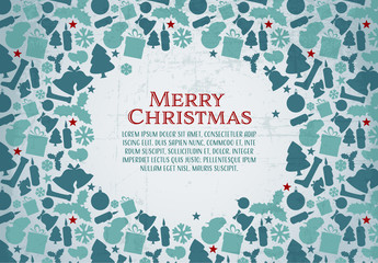 Christmas Card with Grunge Background 2