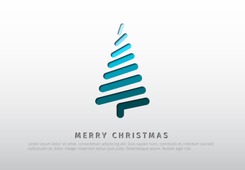 Christmas Card with Modern-Style Christmas Tree