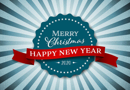 Christmas/New Year's Card with Blue Sunburst Background