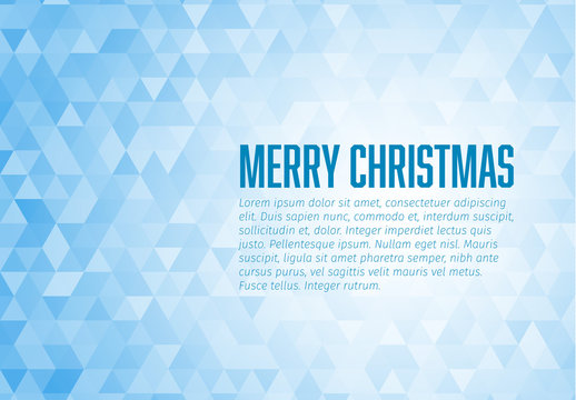 Christmas Card with Blue Gradient Triangles