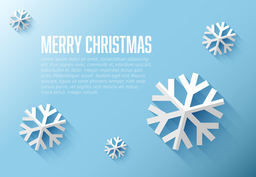 Christmas Card with 3D Snowflake Elements