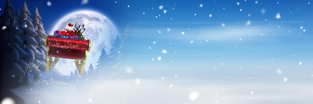 Winter snow and moon transition of Santa's sleigh and reindeer's