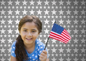 Girl against grey background with American flag and stars