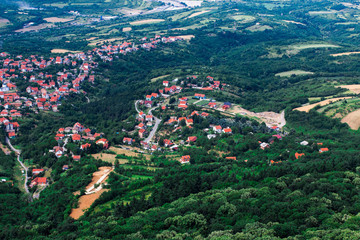 Fields and Villages from high viewpoint. Belgrade countryside, Serbia. An aerial top-view