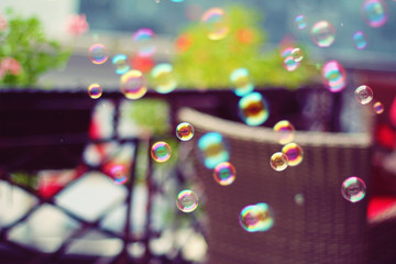 Colorful bubbles in the air