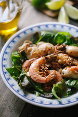 Salad with shrimp and cuttlefish
