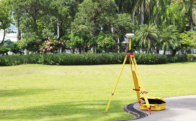 GPS survey on field, Global Positioning System.