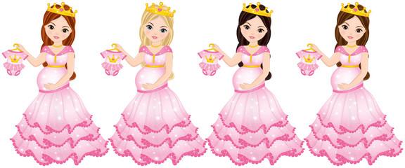 Vector Beautiful Pregnant Women Dressed as Princesses