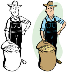 A farmer in overalls with a sack of grain.