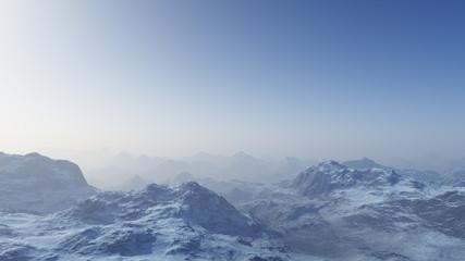 3d rendered Space Art: Alien Planet - A Fantasy snowy landscape