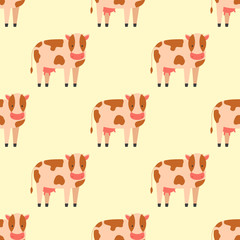 Cow farm animal character vector illustration cattle mammal nature wild beef agriculture seamless pattern.