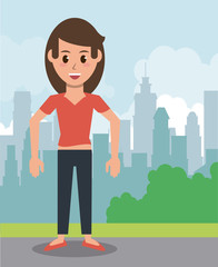 Young woman in the city icon vector illustration graphic design