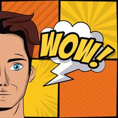 Young man pop art cartoon icon vector illustration graphic design