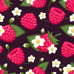 Raspberry seamless pattern. Colored ripe fresh wild berries with leaves and flowers background design for sweets and pastries, vector illustration