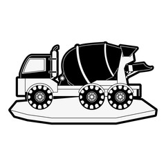 cement truck heavy machinery construction icon image vector illustration design