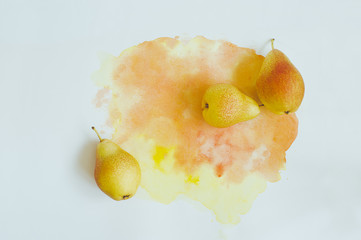 Pears on watercolor background