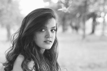 Portrait of beautiful long hair brunette girl
