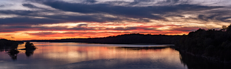 Brilliant Sunset on Cumberland River in Tennessee