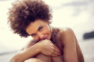 Sensual african american woman wearing jewelry