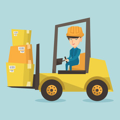 Young caucasian warehouse worker in hard hat loading cardboard boxes. Female warehouse worker driving forklift with cardboard boxes in the warehouse. Vector cartoon illustration. Square layout.