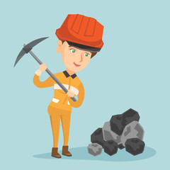 Young caucasian miner in hard hat and workwear working with a pickaxe at the coal mine. Female miner taking coal with a pickaxe at the coal mine. Vector cartoon illustration. Square layout.