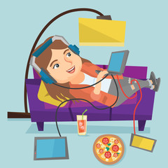 Young caucasian fat woman relaxing on a sofa with many digital gadgets. Plump woman lying on a sofa among lots of gadgets and fast food at home. Vector cartoon illustration. Square layout.
