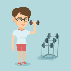 Caucasian strong sportswoman doing exercise with a dumbbell. Young sporty woman lifting a heavy weight dumbbell. Weightlifter holding a dumbbell in the gym. Vector cartoon illustration. Square layout.