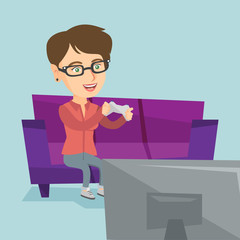 Young happy caucasian woman sitting on the couch and playing video game on the TV set. Excited woman with console in hands playing video game at home. Vector cartoon illustration. Square layout.