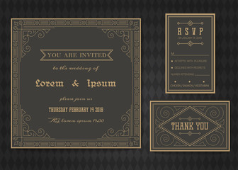 Wedding invitation card vector template .