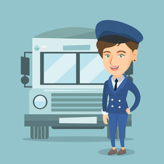 Caucasian cheerful female school bus driver standing on the background of bus. Smiling school bus driver in uniform. Full length of happy school bus driver. Vector cartoon illustration. Square layout.
