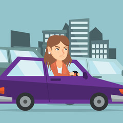 Angry caucasian woman in a car stuck in a traffic jam. Irritated young woman driving a car in a traffic jam. Agressive driver honking in a traffic jam. Vector cartoon illustration. Square layout.