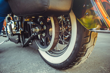 rear wheel of motorcycle with belt transmission rotation